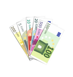 bunch of different simple euro banknotes on white vector image