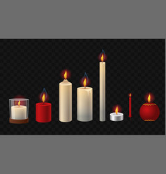 burning candles - realistic isolated clip vector image