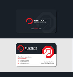 Business card octagon and up arrow red color vector
