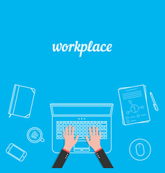 business workplace with white thin line items vector image