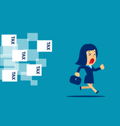 businesswoman running away from tax concept vector image