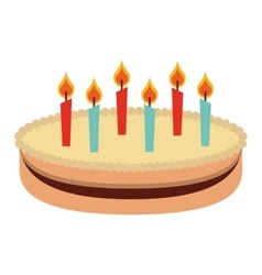 cake with candles isolated icon design vector image