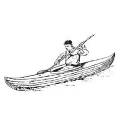 Canoeing vintage vector