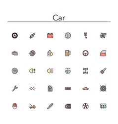 Car colored line icons vector