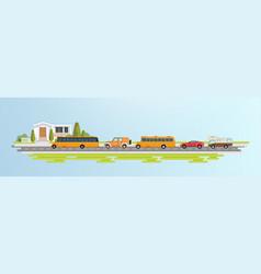 cartoon city school bus sport car vector image