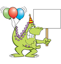 Cartoon dinosaur with balloons and a sign vector