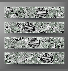 Cartoon hand drawn doodles india banners vector