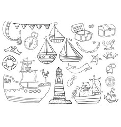 childrens coloring sea pirate set vector image