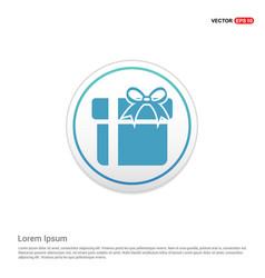 christmas gift box icon - white circle button vector image