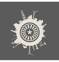 Circle with industry relative silhouettes vector