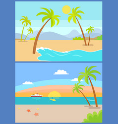 coastline seaview poster tropical beach sea sand vector image