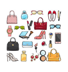 Collection of fashion accessories women things vector