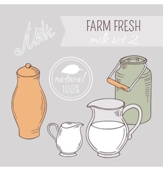 Collection of hand drawn dairy farm objects vector