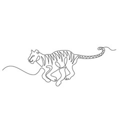 continuous one line drawing tiger jumping symbol vector image
