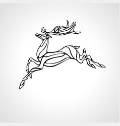 creative deer black outline curved vector image