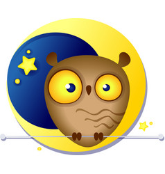 Cute funny owl on the background of the moon vector