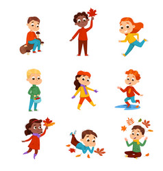 cute kids walking outdoors wearing warm clothes vector image