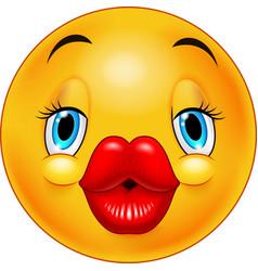 cute kissing emoticon vector image