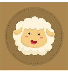 Cute Sheep Smiling in Brown Circle vector image