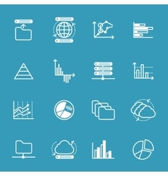 Data storage and data analysis icons vector image
