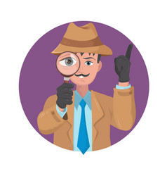 detective looking through magnifying glass vector image