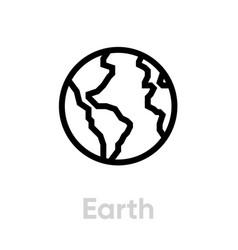 earth icon editable stroke vector image
