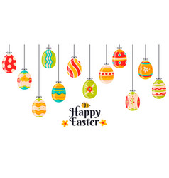 easter hanging eggs cartoon spring decorations vector image