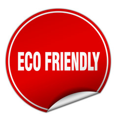 Eco friendly round red sticker isolated on white vector
