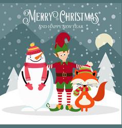 elf snowman and fox beautiful christmas card vector image