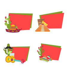 flat mexico stickers with place for text vector image