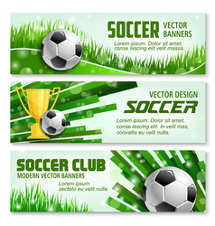 football sport 3d banner of soccer ball and trophy vector image vector image