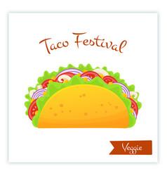 fresh traditional veggie tacos food web banner vector image