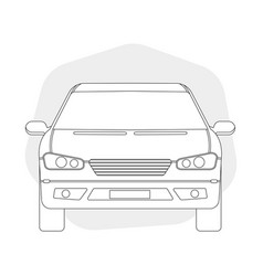 Front view line outline car vector
