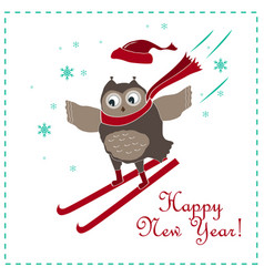 funny and cute skiing owl new year card vector image