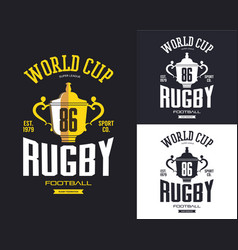 Golden rugby trophy for world cup banner vector
