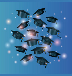 graduation card with set hats vector image