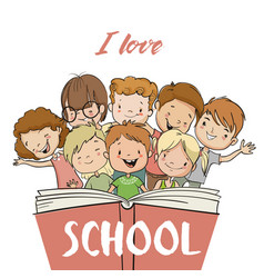 Group of children with book vector