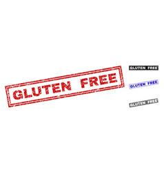 Grunge gluten free scratched rectangle stamp seals vector