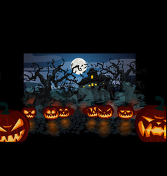 halloween theme with lit pumpkins vector image