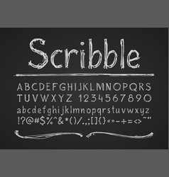 hand drawn chalk letters numbers and symbols vector image