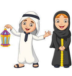 happy arab muslim kids with ramadan lantern vector image