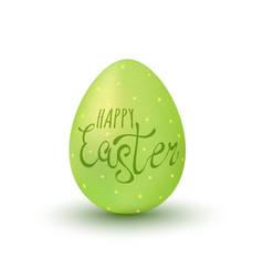 Happy easter on green egg vector