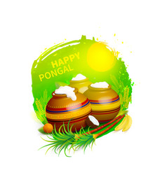 Happy pongal greeting vector