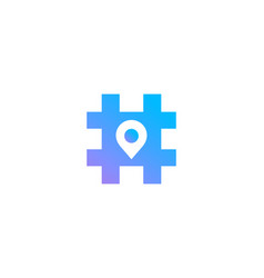 hashtag symbol geotag logo icon design template vector image