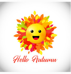 hello autumn smiley face vector image
