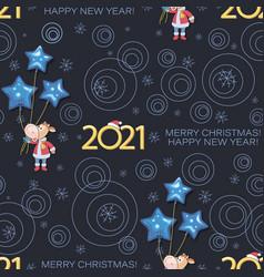 holiday calf 2021 bull santa claus new year vector image