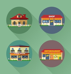 Houses and buildings set flat style vector image
