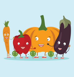 image set cute vegetables icons in vector image