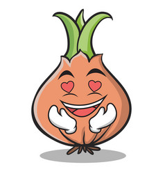 In love onion character cartoon vector