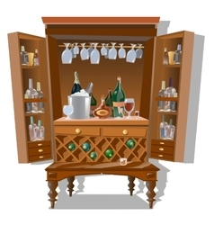 Large cabinet bar with bottles and kitchenware vector image